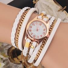 ladies bracelet wrist watches images Casual women woven wrap strap pu leather band bracelet watch jpg