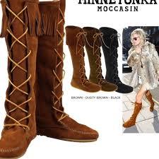 womens fringe boots size 9 68 minnetonka shoes minnetonka lace up moccasin boots