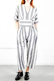 black crane jumpsuit lyst black crane stripe v neck jumper in gray