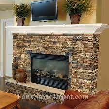 faux stone fireplace kitchen mediterranean with accent lighting