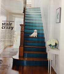ombré painted stair risers and natural wood steps banister