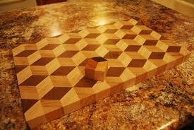 3 d end grain tumbling cube design cutting board cube design cuttings