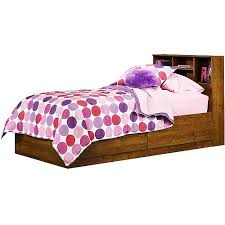 Walmart Bed Frame With Storage Mainstays Storage Bed Alder Walmart