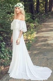 off the shoulder 2017 bohemian wedding dresses lace summer beach