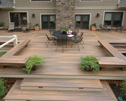 landscape design ideas large wooden deck and dining area patio