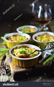 proportion cuisine appetizer baked proportion on wooden stock photo