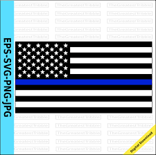 Thin Blue Line Flag Thin Blue Line United States Flag Eps Svg Png Jpg Vector Graphic