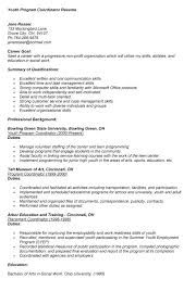 Recreation Coordinator Resume Reentrycorps by Youth Program Coordinator Cover Letter Sample Livecareer Youth