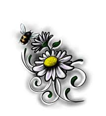 small bumbblebee on daisy flowers tattoo design
