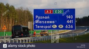 Sign Stands by A Sign Stands On The New Polish Highway A 2 Near Trzciel Poland