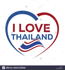 Flag Of Thailand I Love Thailand With Outline Of Heart And Flag Of Thailand Icon