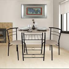 foxhunter compact dining table breakfast bar 2 chair set metal mdf