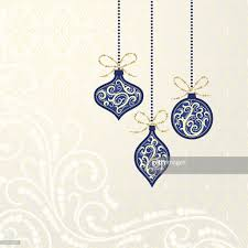 blue christmas ornaments on seamless damask background vector art