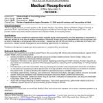Medical Office Receptionist Resume Sample by Medical Receptionist Resume Medical Office Receptionist Job