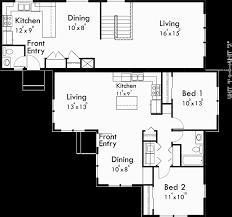 Floor Plans For Sloped Lots Duplex House Plans Corner Lot Duplex Plans D 534