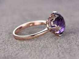 bjs wedding rings big 12mm amethyst engagement ring diamond 6 claw wedding ring 14k