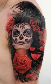 flower and sugar skull on leg sleeve