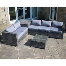 rattan corner sofa rattan effect corner sofa set with table and storage 374157