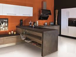 cuisine encastré cuisine moderne colorée et épurée possédant un meuble en béton avec