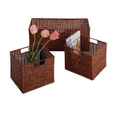 amazon com winsome wood leo storage baskets set of 3 walnut