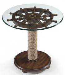 Glass Top Accent Table Round Accent Table With Tempered Glass Top Ship Wheel And Wound