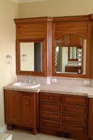 cream wall paint brown real wood vanity with storage drawers