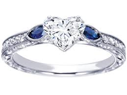 heart rings diamond images Engagement ring heart diamond engagement ring blue sapphire jpg