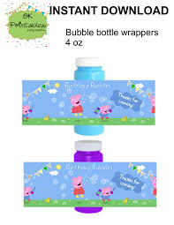 peppa pig and george pig bubble bottle label by okprintables on