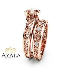 bridal gold ring pink morganite bridal set 14k gold morganite