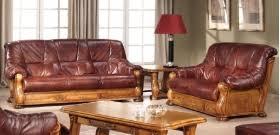 canapé cuir et bois rustique salon relax univers du cuir