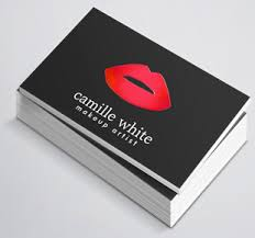 makeup artist red lips black business card templates