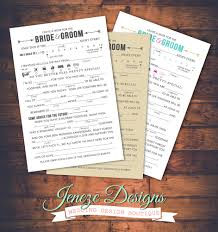 wedding advice cards free wedding mad libs advice jeneze designs