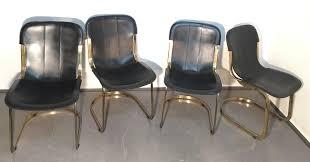 Esszimmerst Le Schwarz Leder Esszimmerstühle Aus Messing U0026 Schwarzem Leder Von Willy Rizzo Für