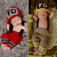 Newborn Photo Props Best Crochet Firefighter Baby Boy Photo Props Infant Kid Hat