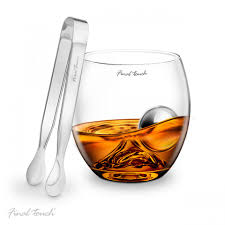 rocks glass final touch on the rock whisky glass stainless steel ball u0026 tongs