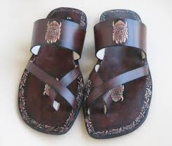 leather men slides handmade sandals with imprints hand painted