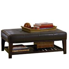 coaster contemporary faux leather tufted ottoman with storage