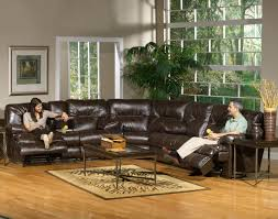 Modern Reclining Sectional Sofas by Catnapper Brown Bonded Leather Modern Cortez Sectional Sofa