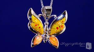 glass butterfly necklace images Millefiori murano glass yellow butterfly necklace in sterling jpg