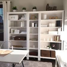 ikea hemnes bookshelf natural wood white and gold accents from