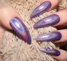 holographic purple nails extra long stiletto nails false nails