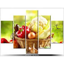 tableau de cuisine moderne 150 x105 cm cuisine legumes horloge murale tableau moderne