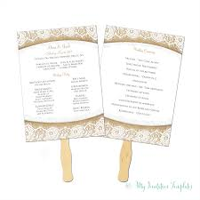 wedding program fan template burlap and lace rustic wedding program fan template instant
