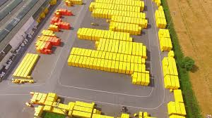 industrial theme aerial view and camera flight over storage and freight terminal