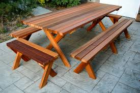 picnic table plans detached benches furniture cedar picnic table awesome finish detached benches foot