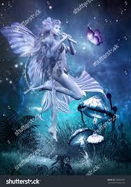 Beautiful Fairies by Fairytale Scene Beautiful Fairy Playing Flute Stock Illustration