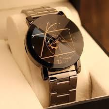 watches for wholesale gear geometric steel band quartz black