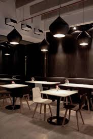 interior in black modern restaurant in black and white colors