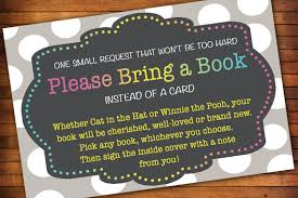bring book instead of card to baby shower baby shower invitation book instead card wording awesome polka dot