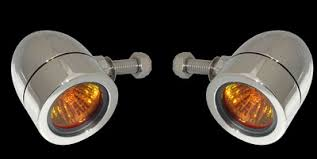 small flat led lights bullet lights led small flat bezel chrome body amber lens 1